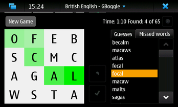 gboggle screenshot on maemo